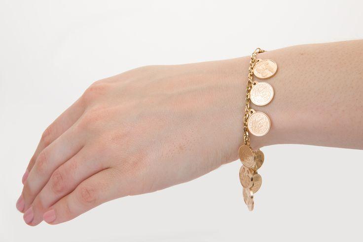 Romantic French Love charm bracelet, 14k gold. Available on www.1stdibs.com