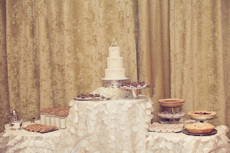 LOVE this set up!! That table cloth really adds to the dessert table!