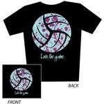 Love The Game... Aqua & Magenta Floral Design Black Volleyball T-Shirt - Short Sleeve Volleyball T-Shirts