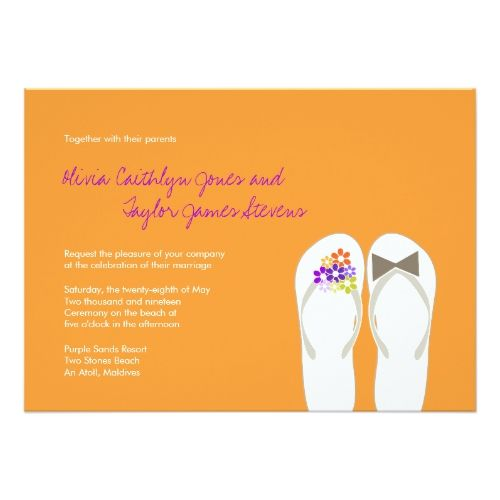 Mr & Mrs Purple Flip Flops Beach Wedding Invite