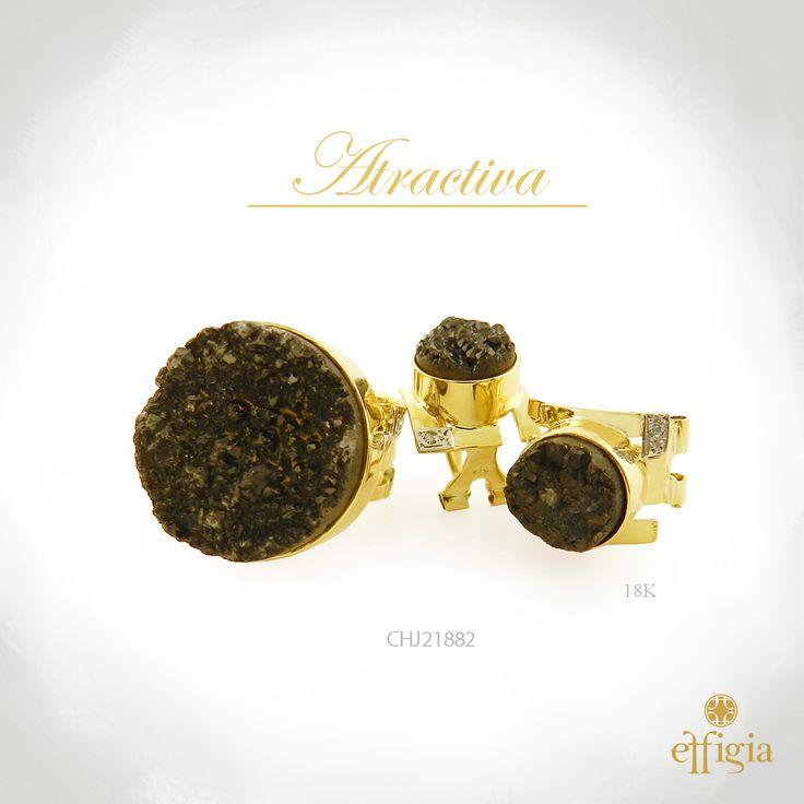 Effigia presenta este precioso juego de oro amarillo de 18k con Druzy negra y brillantes. ¡Brilla con Effigia! #Joyas #Oro
