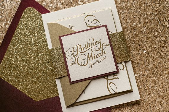 Wine & Gold Glitter Fall Wedding Invitation, Gold Glitter Wedding Invite, Calligraphy Invitation, Burgundy Invitation - Sample Set