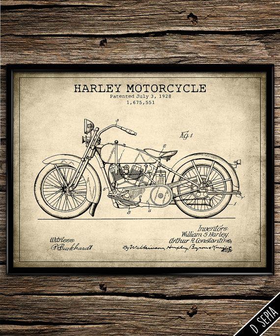 Vintage patent harley motorcycle patent art patent poster bike patent blueprint bike enthusiast print garage decor man cave poster patent