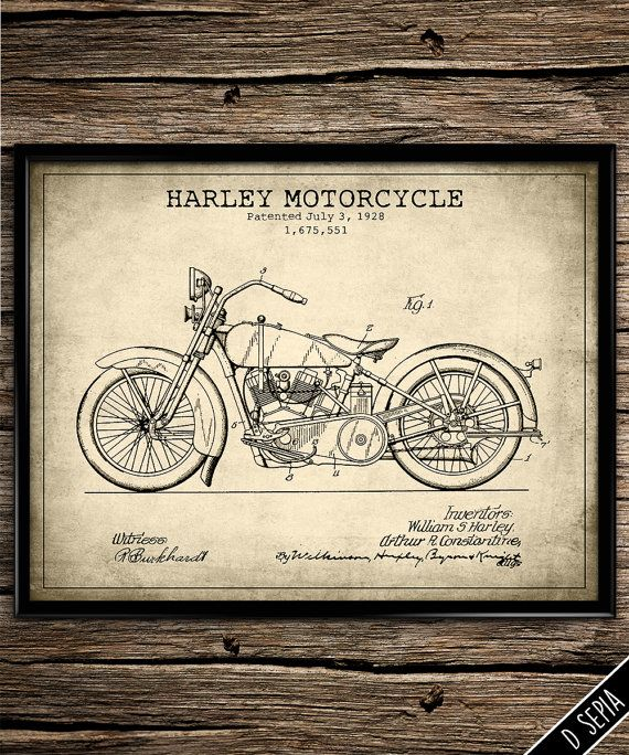 Vintage patent harley motorcycle patent art patent poster bike patent blueprint bike enthusiast print garage decor man cave poster patent