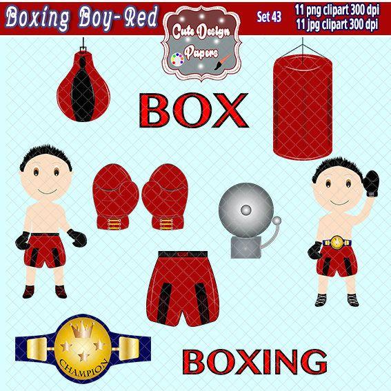 Boxeo niño imagenes prediseñadas, niños, deporte, boxeador, guantes, cinturon boxeo, campana de box, pera de box, costal de box, scrapbook de CuteDesignPapers en Etsy