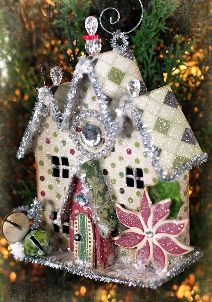 handmade crafty house | Glittered Paper House Village ...