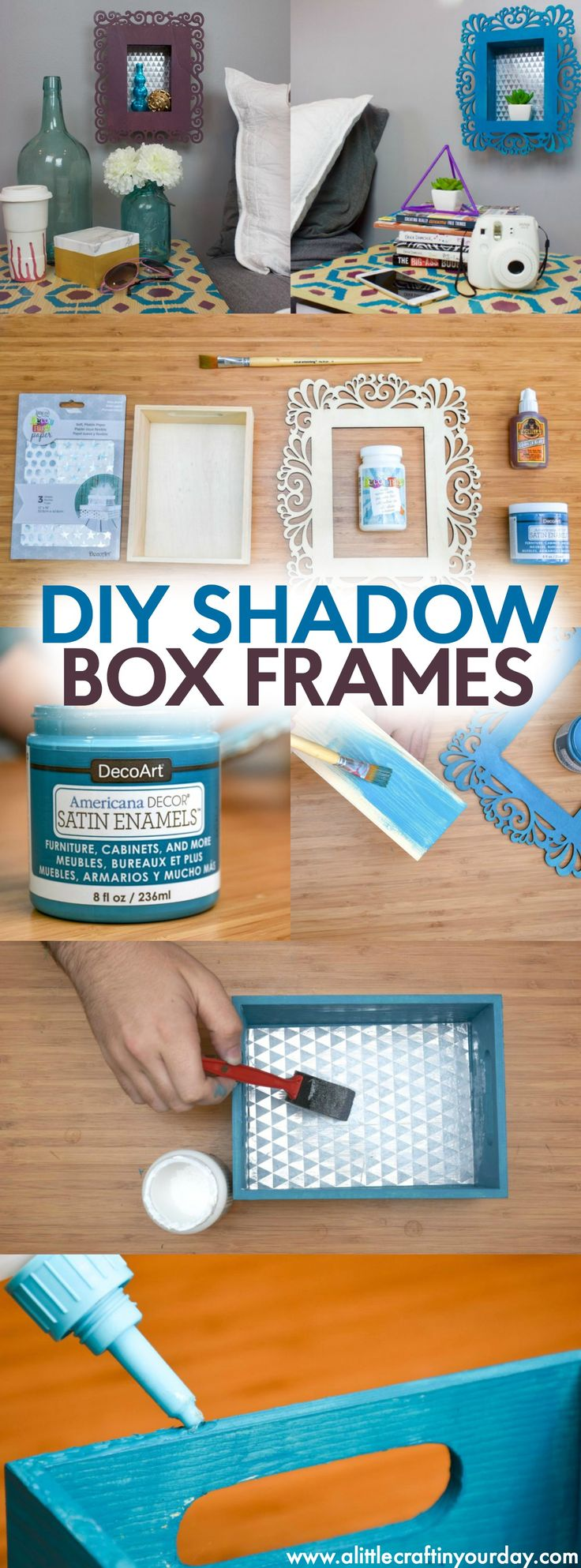 DIY Shadow Box Frames with Americana Decor Satin Enamels | A Little Craft In Your Day