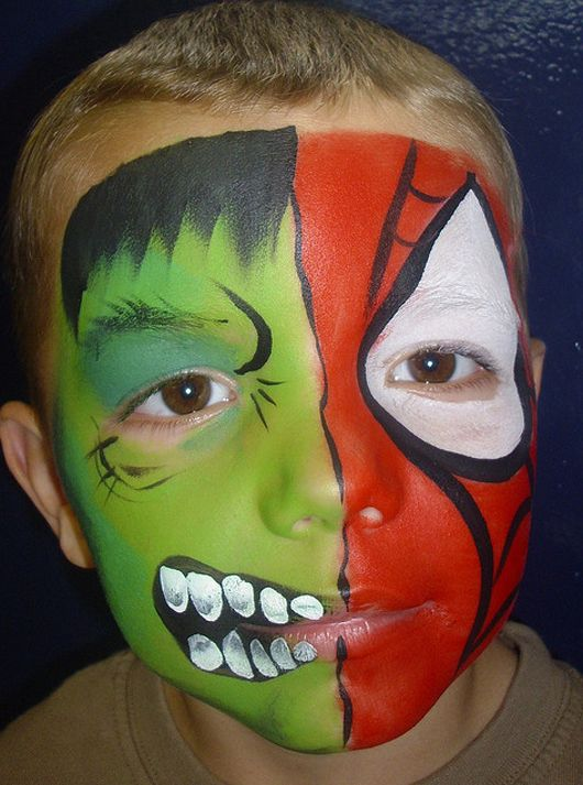 Cute Green & Red Halloween Face Painting Image