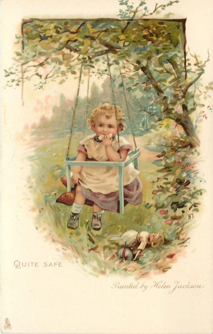 Гифки, старые открытки с малышами