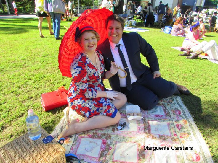 The Garden Party at Old Government House today was organized by the Miss Fisher Exhibition and people came dressed in vintage clothing from the 20's….to picnic on the grass outside Old …