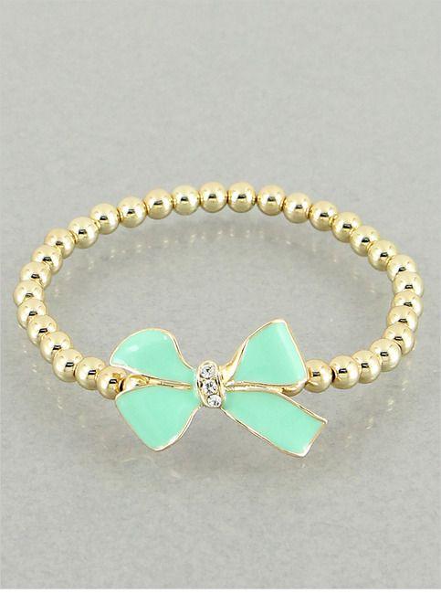 Jackie Mint Bow Bracelet