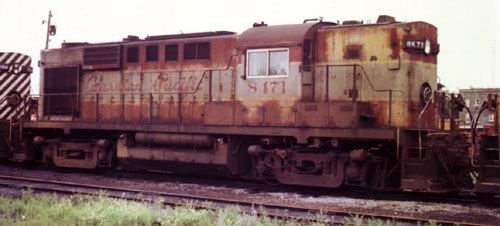 """UNIT: 8471 SERIES: unavail. MODEL: RS-10 SERIAL #: 81060 BUILDER: MLW CLASS: DRS-16c BUILT: 1955 REBUILT: unavail. ENGINE: 12-244 CTE: 47000 WHEELS: B-B WEIGHT: 261000 H.P.: 1600 SPEED: 75 LENGTH: 53' 1"""" COMMENTS: Retired in 1979 in this paint"""