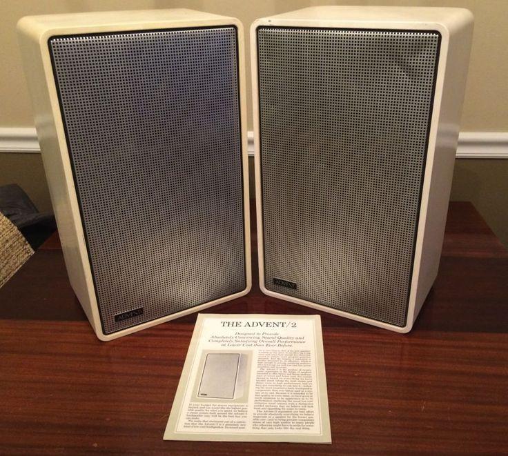 vintage pair of advent 2 speakers white with original. Black Bedroom Furniture Sets. Home Design Ideas