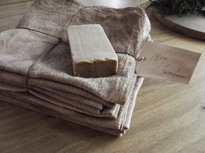 "Pantry cloth stack... can make your own ""cheap"" by using paint rags made out of loose osnaburg (from Walmart)...  then grunged.   Bars of olive soap (from the dollar store) look prim when banged up abit!  Great ideas!!!  Check this link for more specific details!"