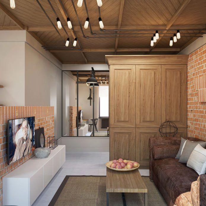 Маленькая гостиная в стиле лофт