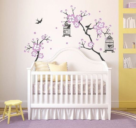 Baby girl room decor cherry blossom tree wal decal wall for Baby girl nursery mural
