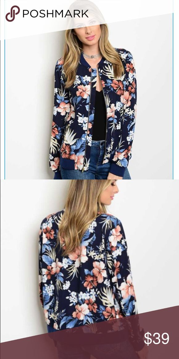 Navy Floral Bomber Jacket NWT Long sleeve zipper front closure tropical floral print bomber jacket. NWT Jackets & Coats