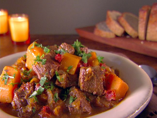 """Beef and Butternut Squash Stew from FoodNetwork.com   This is REALLY good & a great meal for anyone doing the whole """"protein thing"""" The butternut squash in place of white potatoes is awesome. Some salad & a crusty loaf of french bread makes a great fall meal...;)"""