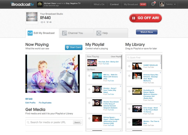 """My Broadcast"" page. Here, you can edit your playlist and store videos in your Library."