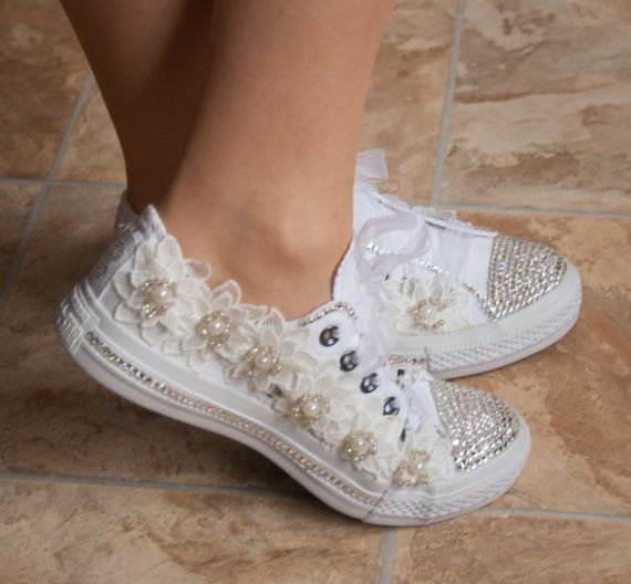 wedding converse trainers with crystals, lace  pearls. Wedding trainers, wedding converse, bridal Converse,wedding tennis shoes