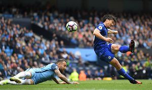 Leicester City's Shinji Okazaki connects to volley home a consolation goal in the 2-1 deafeat to Manchester City at The Etihad.
