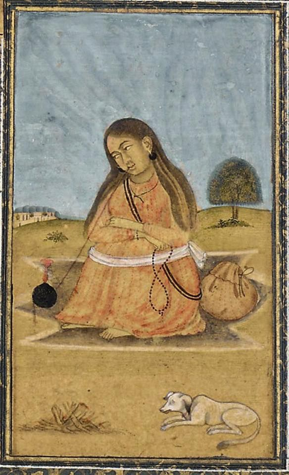 Female ascetic with band holding her legs in meditation posture.