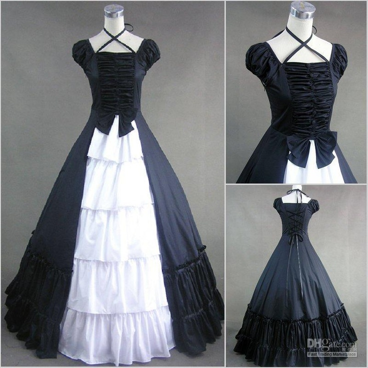 Medieval Black And White Gothic Wedding Ball Gown: Dresses Of A Different Era