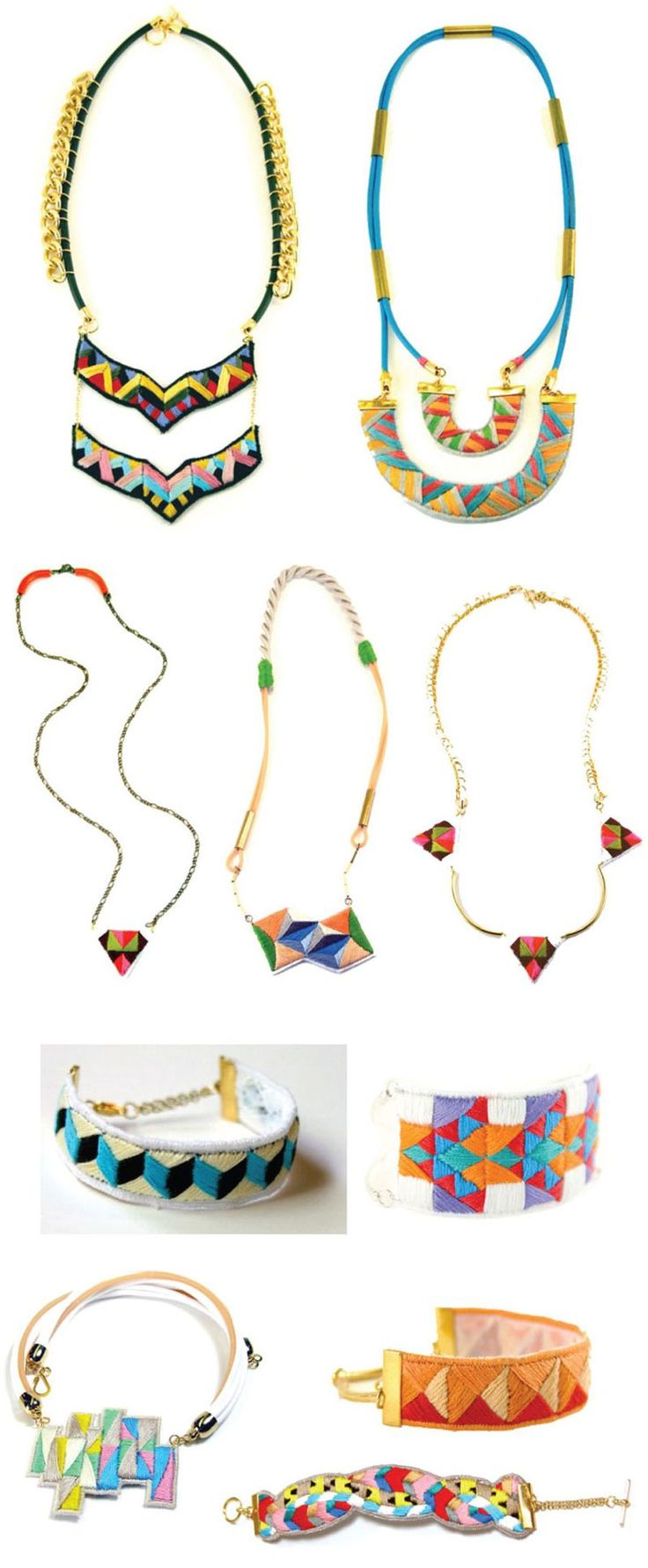 Hand embroidered jewelry by Lorena Marañón.