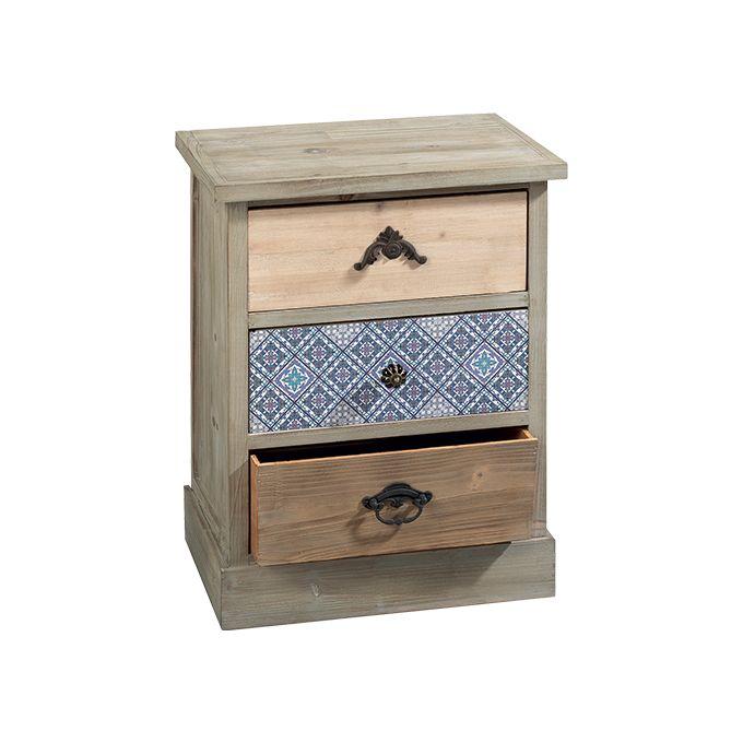 Mobiletto O1339     mobiletto in legno con 3 cassetti; il cassetto centrale è decorato con un pattern che ricorda gli azulejos portoghesi  dimensione: 45x34x59