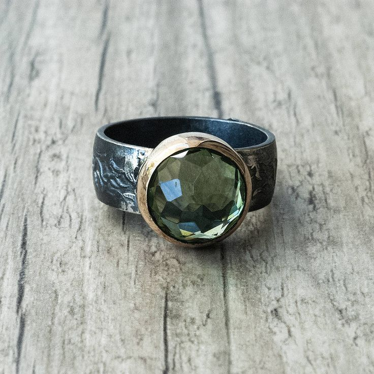 Peridot Ring, Sterling Silver and Gold Green Gemstone Ring