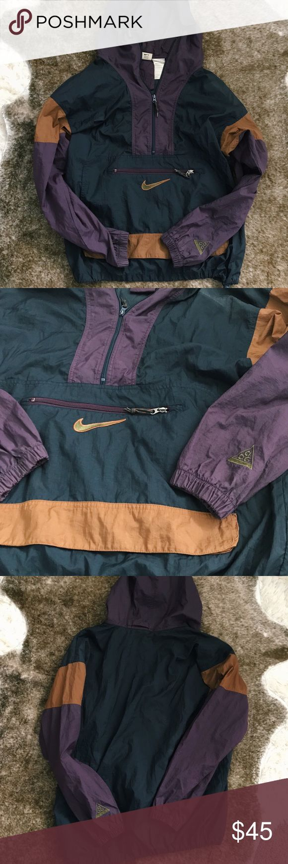 *ALREADY SOLD* Amazing Vintage Nike Windbreaker Incredible Vintage Nike ACG Half-Zip windbreaker hoodie in amazing condition!! Drawstring waist, hood, and zippers are all in tact! A men's size Small, but can definitely fit a Medium. Selling for $45!✨ #nike #vintage #jacket #windbreaker #hoodie Nike ACG Jackets & Coats Windbreakers