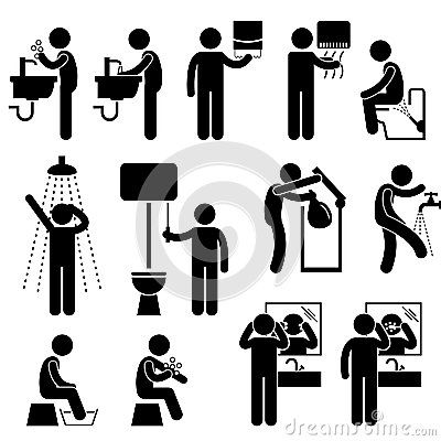 Personal Hygiene in Toilet Pictogram
