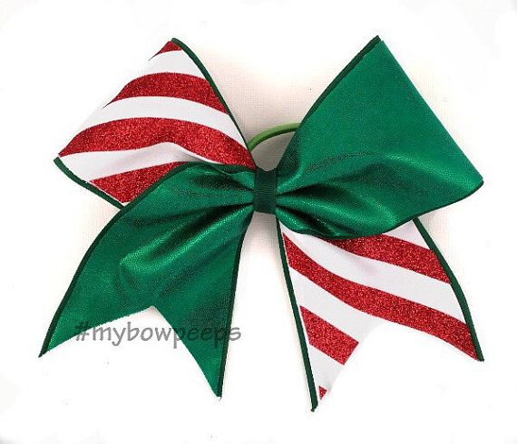 Candy cane christmas cheer bow by MyBowPeeps on Etsy