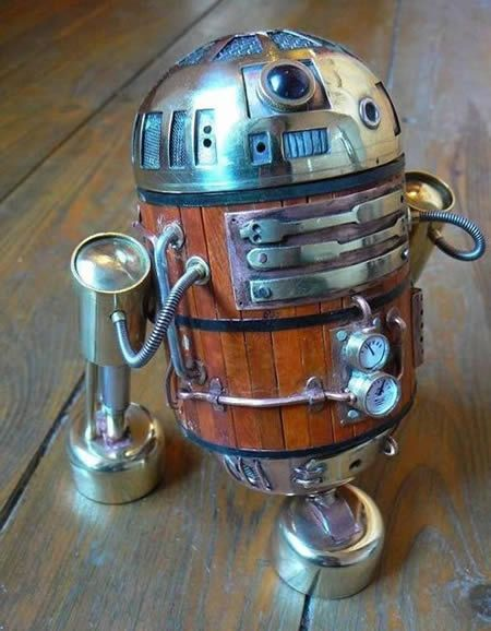 Steampunk R2D2  @Jolene Wehmeyer  The only thing that would make this better is if you could lift the head up and have a wine cooler!
