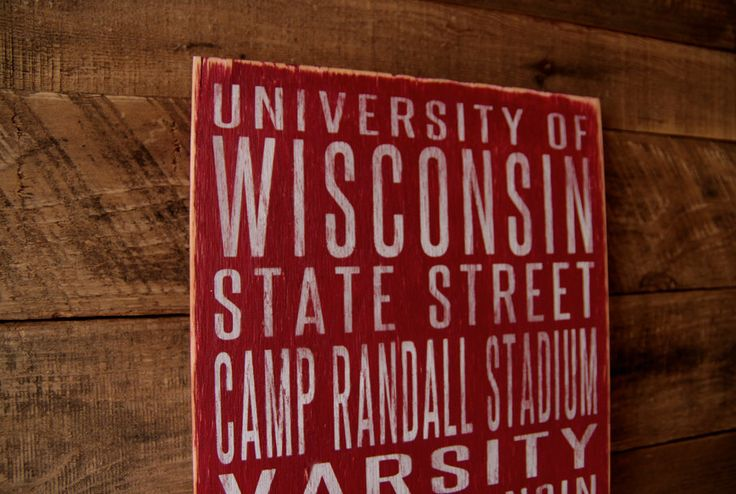 University of Wisconsin Badgers Distressed Wood Sign--Great Father's Day Gift! by SportsSigns on Etsy https://www.etsy.com/listing/183173249/university-of-wisconsin-badgers