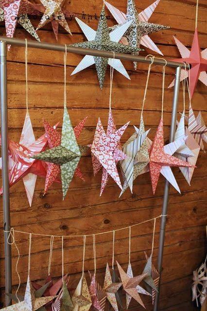 DIY paper stars christmas garland decorations - home decor, Christmas tree decor #2014 #Christmas