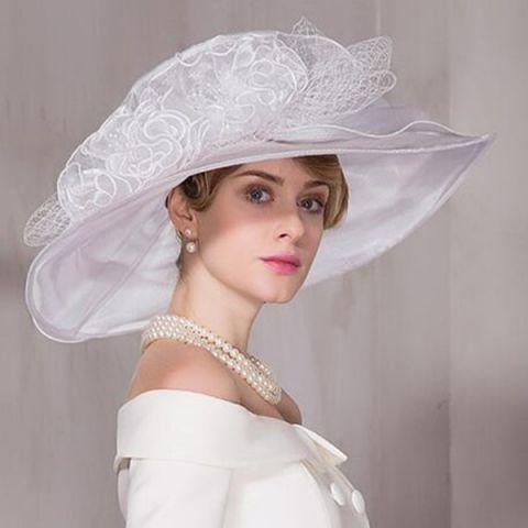cd6877421 White wedding hats for kentucky derby ladies Organza church hat wide ...