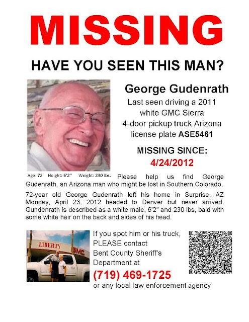 George Gudenrath, Missing Person Arizona,  Http://www.missingpersonsofamerica.com Throughout Missing Person Flyer