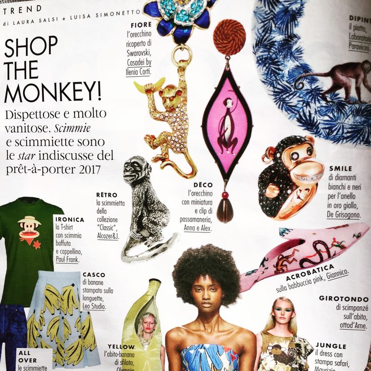 @elle_italia and #annaealex love monkeys... vain and naughty. Our drop earrings say it all!