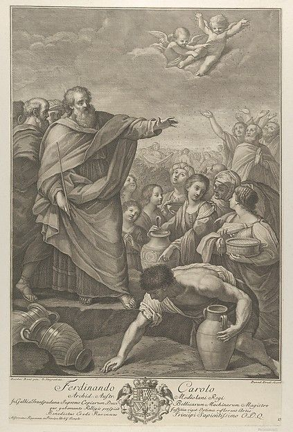 Moses at left with the Israelites who gather manna as it falls from the sky, two angels above, after Reni