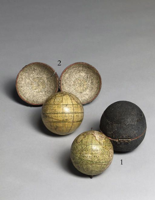 Adams, 1762. Terrestrial and celestial detailed pocket globes, 7.6 cm ... amazing I've seen these on the antique roadshow <3