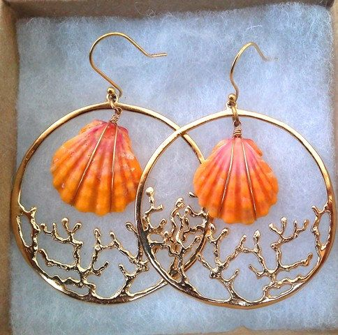 Custom Coral Hoop Sunrise Shell Earrings SALE. $230.00, via Etsy.