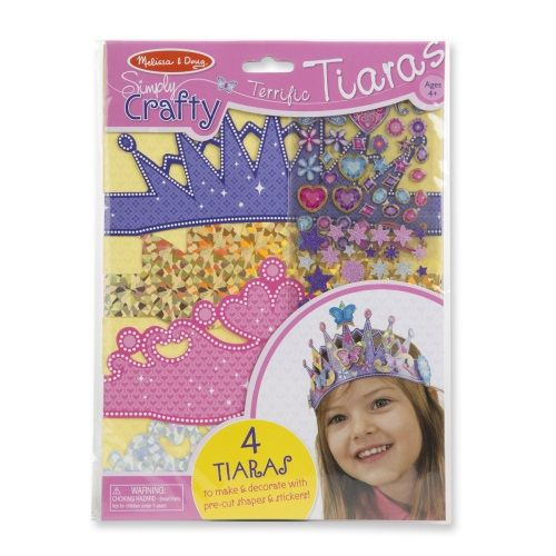 The Melissa and Doug Simply Crafty Terrific Tiaras contains 4 tiaras to make & decorate with pre-cut shapes & stickers.