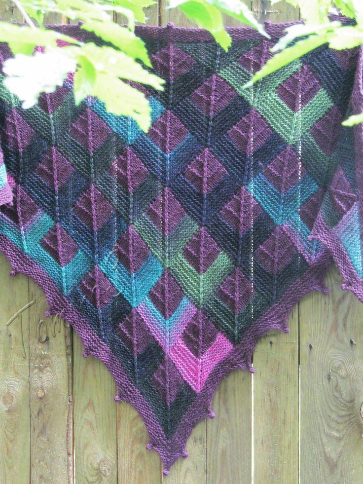 "Knit shawl ""Tartan ""Pride of Scotland"" (knitted shawl, wool shawl, modular squares, knit patchwork, stained-glass shawl, hand knit shawl)"