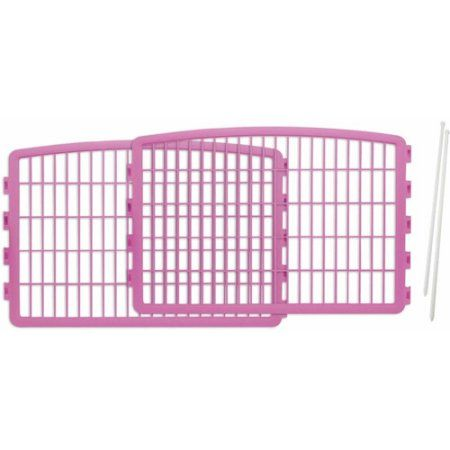 Iris 2-Piece Add-On Kit for 4-Panel Indoor/Outdoor Pet Pen for Dogs, Pink