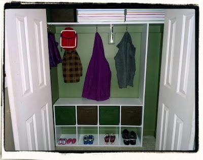 "Uses ClosetMaid Cubeicals on the bottom. I like this idea but it may be too high to be a seat. And what would we do about the ""locker"" half of the project?"