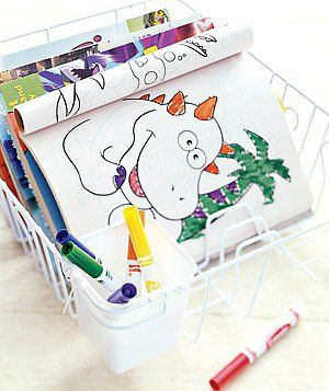 Use a Drying Rack to Keep Coloring Books Organized
