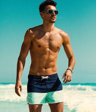 Mint and navy swim shorts