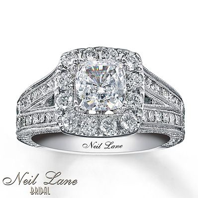 EXCELLENT CHOICE FOR ANNIVERSARY: Neil Lane Engagement Ring 2 ct tw Diamonds 14K White Gold