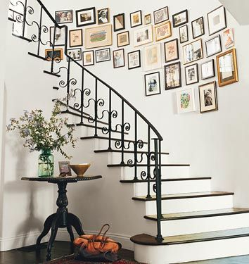 amanda peet - domino.: Idea, Stairs, Photos Collage, Galleries Wall, Photos Wall, Stairca, Pictures Frames, Pictures Wall, Stairways